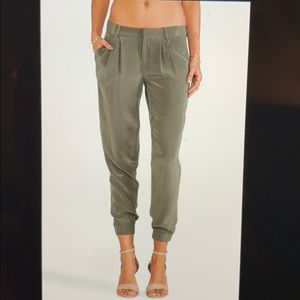Joie olive green silk joggers